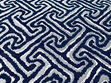 Norbar Geometric Greek Key Weave Upholstery Fabric- Chance / Navy 9.0 yd