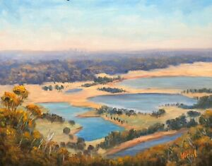 Original Australian Landscape Oil Painting View from Hawksbury Lookout