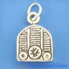 OLD STYLE RADIO RECEIVER MUSIC 3D .925 Sterling Silver Charm NEW MADE IN USA