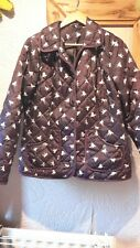M&S Woman Purple White Horse Padded Quilted Coat Jacket Size 14