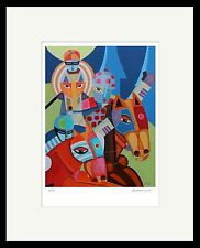 Contemporay Horse Racing Piece Jockey Equine Modern Cubists Vivid Art  SFASTUDIO