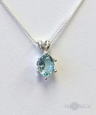 925 Sterling Silver Pendant Monosital 1 ct. Aquamarine chain necklace Jewelry. @