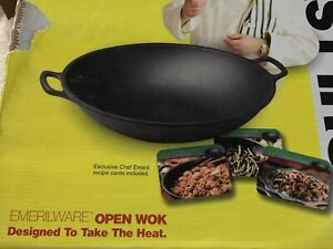 "All-clad Emeril ware Pre-seasoned Cast Iron 14"" Open Wok  NOS In Rough Box"