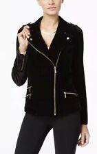 NWT Macy's INC women's faux suede moto black jacket S $119.50