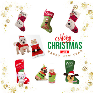 PERSONALISED PET CHRISTMAS SANTA SACK EMBROIDERED NAME COSTUME STOCKING
