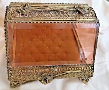 Vintage Vanity Casket Jewelry Box Ormolu Filigree Flower Accent Amber Glass