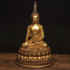 """10"""" Chinese Antique Tibet bronze gilt Handmade Shakyamuni Buddha Statue"""