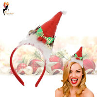 Christmas Santa Hat Novelty Headband Red Shiny Office Xmas Party Costume Dress