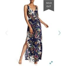 New Rokoko by Dazz Deep V-Neck Navy Floral Sexy Strappy Side Slit Maxi Dress M