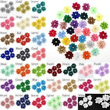 100Pc U pick Satin ribbon flowers Crystal Appliques Sewing Craft Wedding Decor
