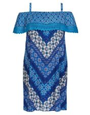 Plus Size Autograph Blue Paisley Off The Shoulder Crochet  Midi Dress Size 16