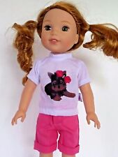 """Yorkie Dog Short Set Fits Wellie Wishers 14.5"""" American Girl Clothes"""