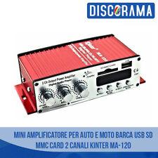 MINI AMPLIFICATORE PER AUTO E MOTO BARCA USB SD MMC CARD 2 CANALI KINTER MA-120