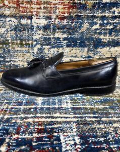 ALLEN EDMONDS HARRINGTON LEATHER TASSEL LOAFERS Mens SZ 12 D Black Slip On Split
