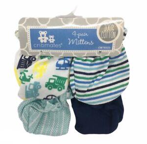 Cribmates 4-pair mittens scratch mitts blue white baby CM78223