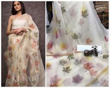 Organza Silk Flower Print Sari Saree Indian Ethnic Party Wedding Wear Lehenga SS