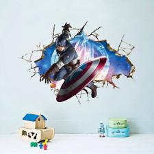 Adesivo Murales parete Cameretta bambini Capitan America 3D Muro Wall Sticker