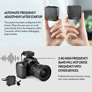 MX5 2.4G Wireless Recording Microphone System 50M For Smartphone DSLR Camera