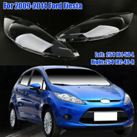 1 Pair Headlight Headlamp Clear Lens Shell Cover For Ford Fiesta 2009-2014