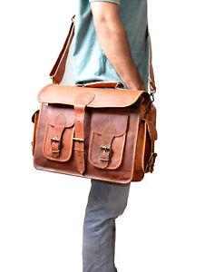 """15"""" Leather Messenger Bag Men & Women Laptop Office Shoulder Satchel Briefcase"""