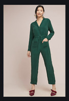 NEW Sz M Anthropologie Green Light Weight Corey Lynn Calter Talia Jumpsuit Cupro