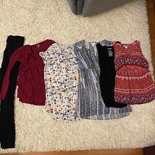 Lot Of 6 Maternity Pregnancy Clothes Shirts Full Panel Leggings Size Medium Nice