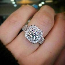 Women Sunshine 925 Silver Rings White Sapphire Wedding Band Rings Size 6-10