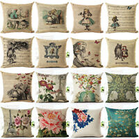 18'Retro Alice Rose Cotton Linen Sofa Pillow Case Cushion Cover Throw Home Decor