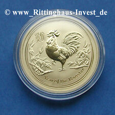 Goldmünze Lunar II Hahn 15$ 1/10Oz 1/10 Unze 2017 Gold Rooster the Perth Mint Oz