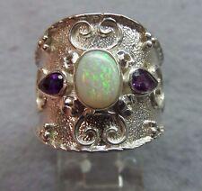 Estate Genuine 7x6 Australian Opal Amethyst Pear Shape Silver 925 Ring skaisMR16