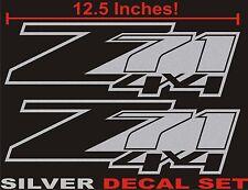 Z71 4x4 Truck Bed Decals, Silver Metallic (Set) for Chevrolet Silverado