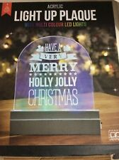 MERRY CHRISTMAS PLAQUE ACRYLIC LIGHT UP LED COLOUR LIGHTS BOXED
