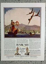 VINTAGE 1929 MAGAZINE AD FOR TRAVEL TO HAWAII.