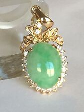 Green Jade In 18k Gold Pendant 32.5x14mm