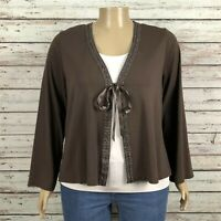 Venezia Beaded Embroidered Tie Front Cardigan Shirt 22W 24W PLUS Brown Cotton