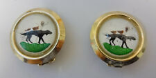 Vintage Signed Weiss Essex Crystal Glass Russian Borzoi Dog Earrings Clip On