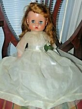 """Vintage 50's Horsman Sleepy Eyes Rubber Squeak Doll With Clothing * 17"""" Tall"""