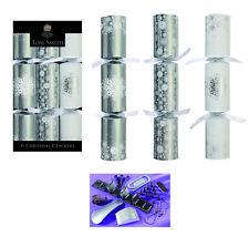 Tom Smith Christmas Crackers 6 x 12'' Silver Snowflake Design Christmas Crackers