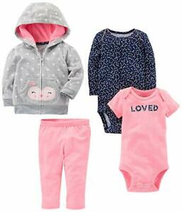 Carter's Baby Girls 4-Piece Fleece Jacket, 2 Bodysuits and Fleece Pants Set Nwt
