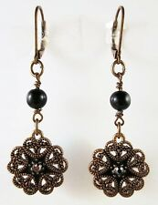 £25 Art Nouveau Boho Gold Black Flower Drop Earrings Swarovski Elements Crystal