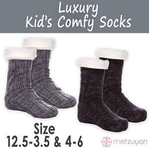 1 Pair Kids Boys Lounge Chunky Slipper Socks Knitted Bed Socks Anti Slip Grips