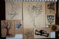 Vtg Collage Fairy Fairies Dancer Dance Sun Scroll Star Wood Rubber Stamps Lot 9
