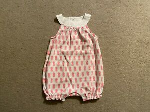 Janie and Jack Girls Size 3-6 Months Romper White Pineapples EUC