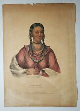 "Antique 1838 Hayne Hudjihini Native American Hand Colored Litho Royal Folio 20"""
