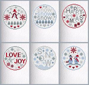 6 CROSS STITCH Christmas Cards KIT SNOW Riverdrift House