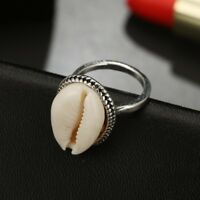Boho Nature Cowrie Shell Ring Handmade Silver Band Rings Jewelry Gift UK