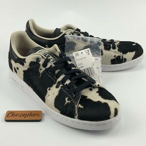 NEW Adidas Originals Stan Smith Shoes Cow Print Black Off White FV3087 Women's 9