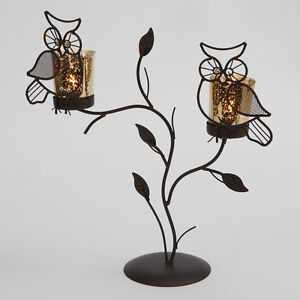 OWL BROWN TEA LIGHT HOLDER FREE STANDING NIGHT HOME GARDEN CANDLE DECORATIVE