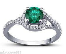 Ring Sterling Silver 925 Size 5 1.2 Ct Emerald Green Cubic Zirconia Solitaire