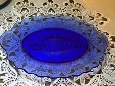 Cobalt Blue Mount Vernon George & Martha Washington Scalloped Plate